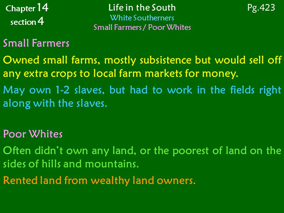 Small Farmers Owned small farms, mostly subsistence but would sell off any extra crops to local farm markets for money.