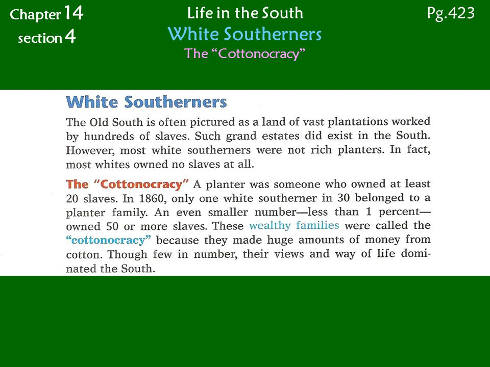 Life in the South White Southerners The Cottonocracy Chapter 14 section 4 Pg.423