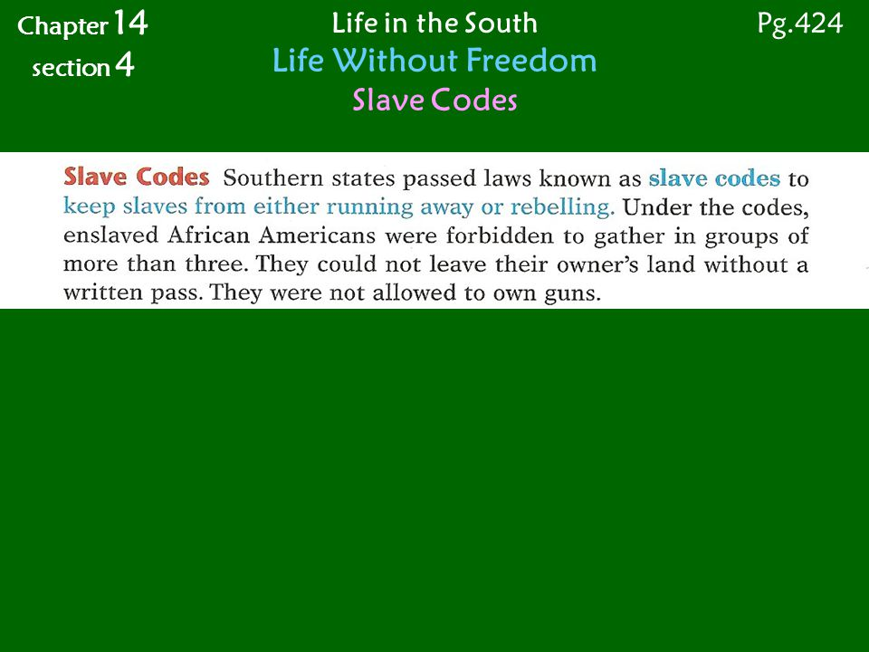 Life in the South Life Without Freedom Slave Codes Chapter 14 section 4 Pg.424