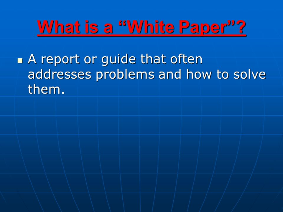 A report or guide that often addresses problems and how to solve them.