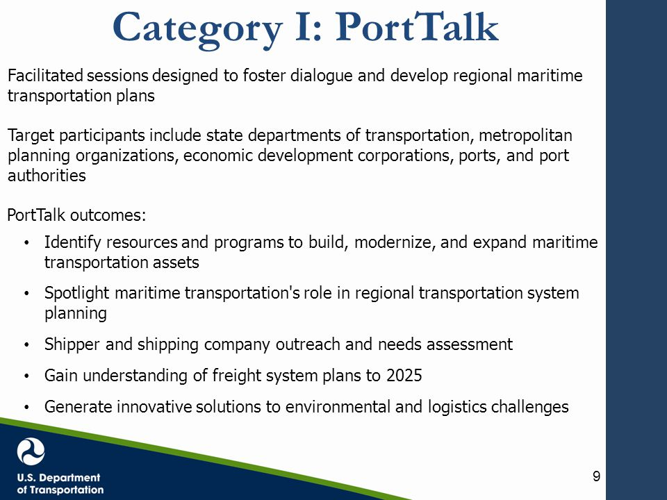 Category II: Federal financing programs Port Infrastructure Development Fund Surface Transportation Program (STP) Transportation Investment Generating Economic Recovery (TIGER) Projects of National and Regional Significance (PNRS) Transportation Infrastructure Finance and Innovation Act (TIFIA) Private Activity Bonds (PABs) Railroad Rehabilitation and Improvement Financing (RRIF) Small Shipyard Grant Program Port Security Grant Program (PSGP) Diesel Emissions Reduction Act (DERA) Brownfield Grants Congestion Mitigation & Air Quality Program (CMAQ) Ferry-related Grants 10