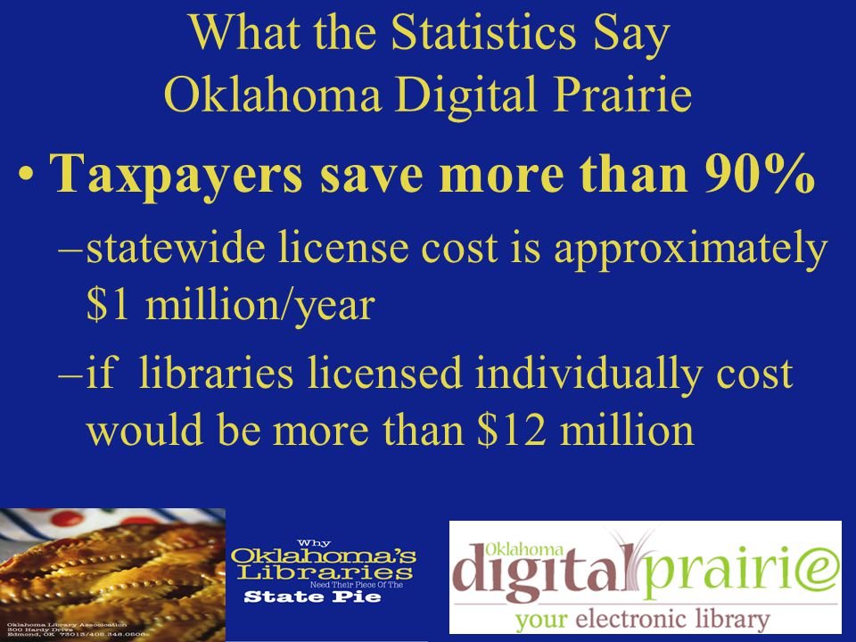 What the Statistics Say Oklahoma Digital Prairie Taxpayers save more than 90% –statewide license cost is approximately $1 million/year –if libraries licensed individually cost would be more than $12 million
