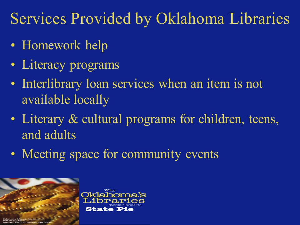 How Oklahoma Academic Libraries Compare to Other States Oklahoma Academic Libraries have 15% less to spend per Student FTE than the national average Salaries in Oklahoma Academic Libraries are 21.5% below the national average