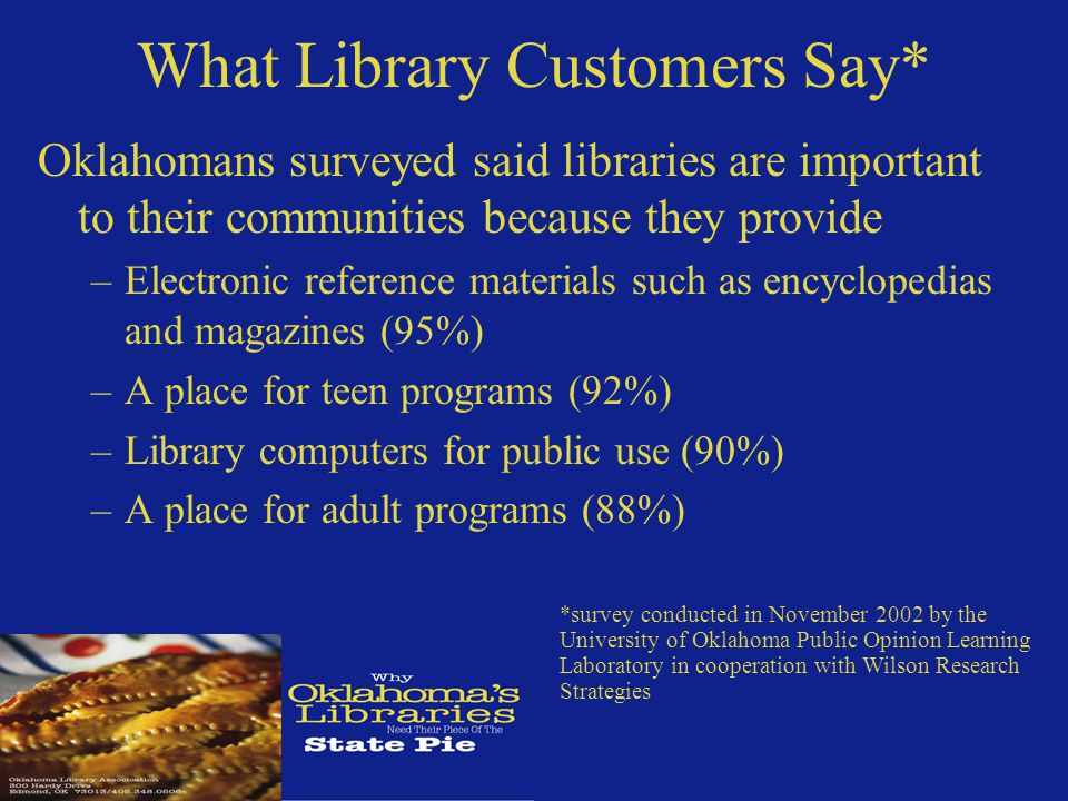What Library Customers Say* Oklahomans surveyed said libraries are important to their communities because they provide –Electronic reference materials such as encyclopedias and magazines (95%) –A place for teen programs (92%) –Library computers for public use (90%) –A place for adult programs (88%) *survey conducted in November 2002 by the University of Oklahoma Public Opinion Learning Laboratory in cooperation with Wilson Research Strategies