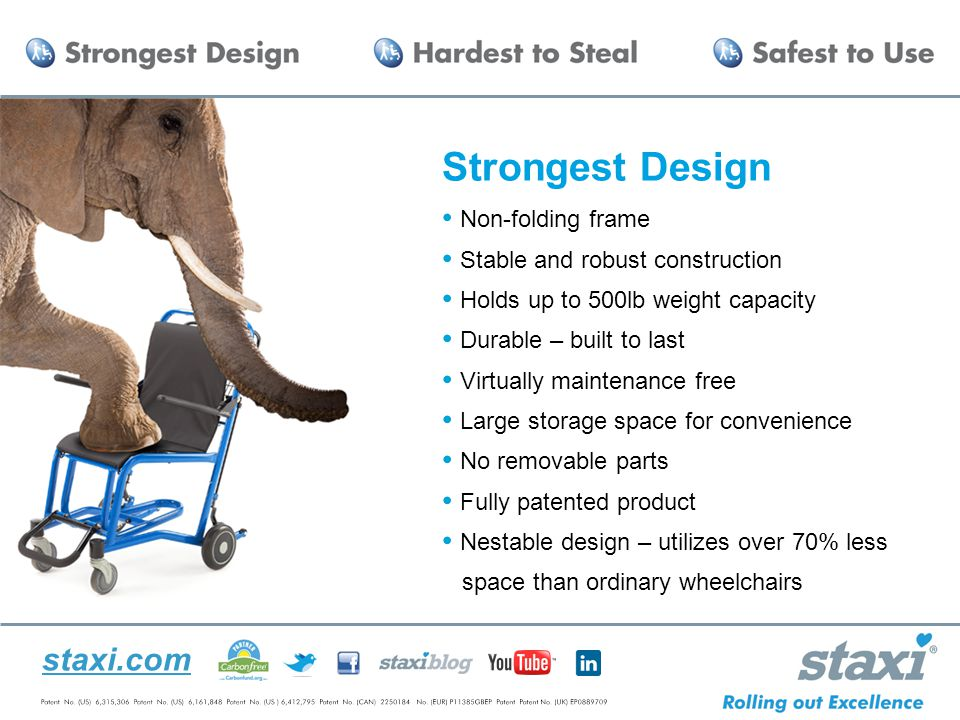staxi.com Strongest Design Non-folding frame Stable and robust construction Holds up to 500lb weight capacity Durable – built to last Virtually maintenance free Large storage space for convenience No removable parts Fully patented product Nestable design – utilizes over 70% less space than ordinary wheelchairs