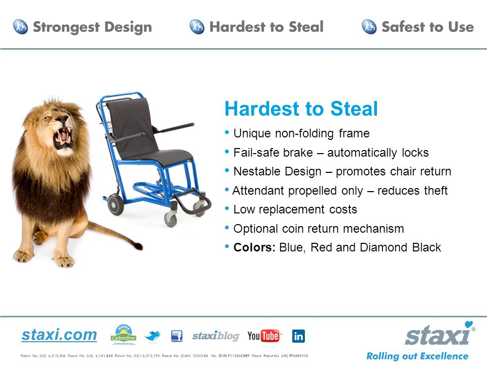 staxi.com Hardest to Steal Unique non-folding frame Fail-safe brake – automatically locks Nestable Design – promotes chair return Attendant propelled only – reduces theft Low replacement costs Optional coin return mechanism Colors: Blue, Red and Diamond Black