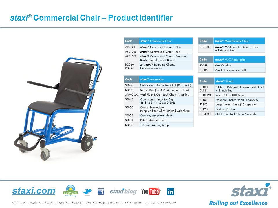 staxi.com staxi ® Commercial Chair – Product Identifier