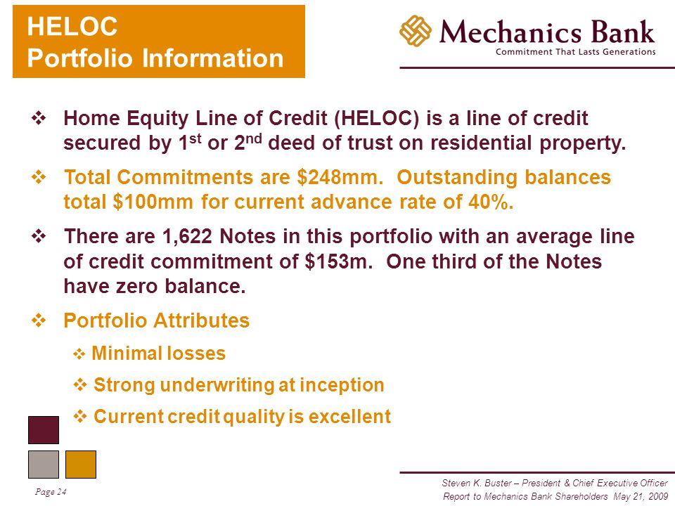 Steven K. Buster – President & Chief Executive Officer Page 24 Report to Mechanics Bank Shareholders May 21, 2009 HELOC Portfolio Information  Home E
