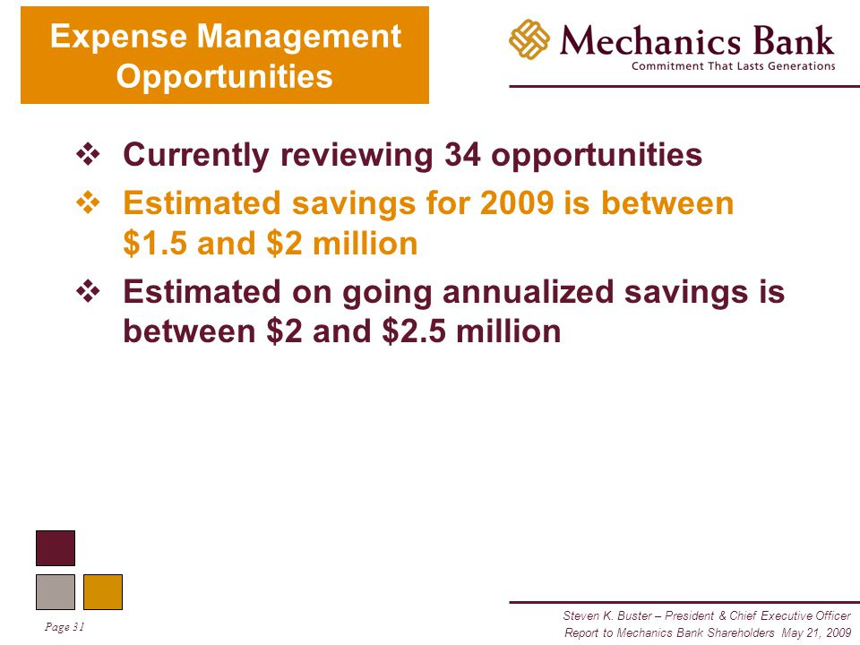 Steven K. Buster – President & Chief Executive Officer Page 31 Report to Mechanics Bank Shareholders May 21, 2009  Currently reviewing 34 opportuniti