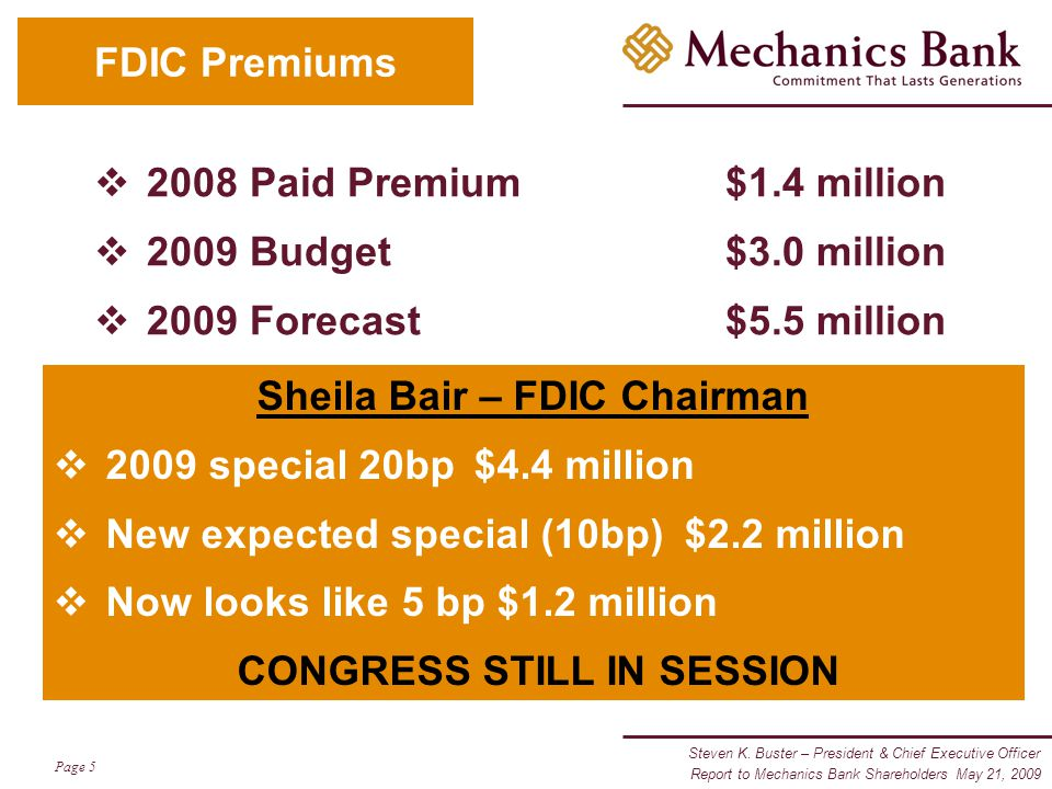 Steven K. Buster – President & Chief Executive Officer Page 5 Report to Mechanics Bank Shareholders May 21, 2009 FDIC Premiums  2008 Paid Premium$1.4
