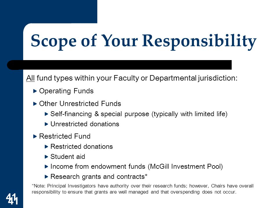 41 Scope of Your Responsibility All fund types within your Faculty or Departmental jurisdiction: Operating Funds Other Unrestricted Funds Self-financi