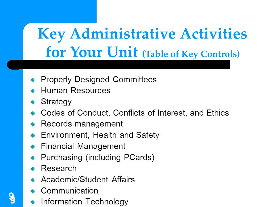 50 Key Control Activities for Your Unit Financial Reporting and Review Unit leaders should receive regular reports summarizing operations and status of funds.