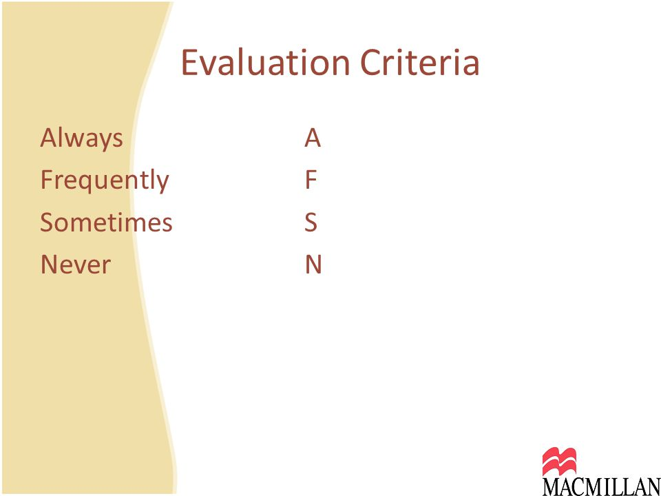 Evaluation Criteria Always A FrequentlyF SometimesS NeverN