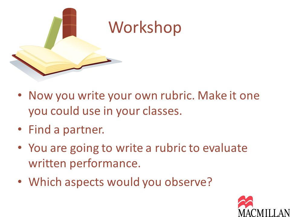 Now you write your own rubric. Make it one you could use in your classes.