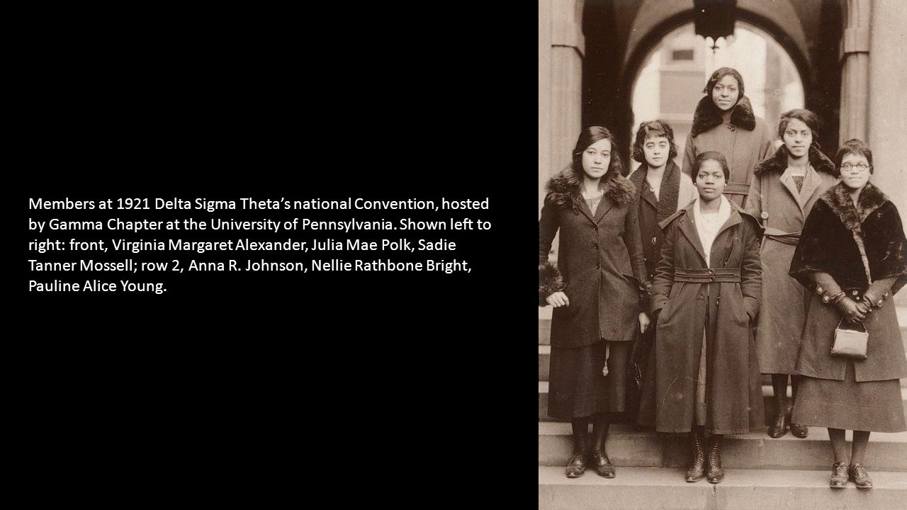 Members at 1921 Delta Sigma Theta's national Convention, hosted by Gamma Chapter at the University of Pennsylvania.