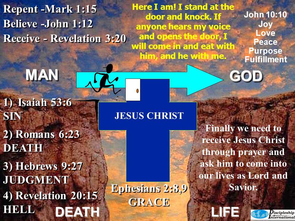 GODGOD DEATHLIFE Receive - Revelation 3:20 Repent -Mark 1:15 4) Revelation 20:15 HELL 4) Revelation 20:15 HELL 2) Romans 6:23 DEATH 3) Hebrews 9:27 JU