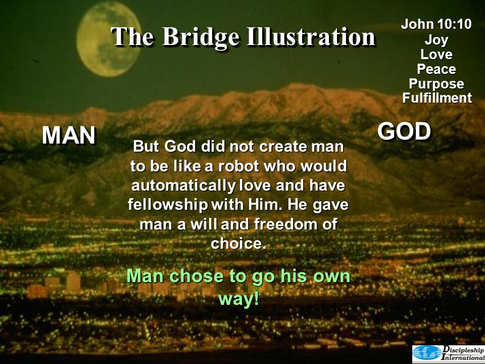 The Bridge Illustration But God did not create man to be like a robot who would automatically love and have fellowship with Him. He gave man a will an