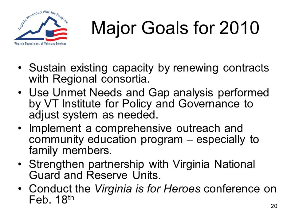 20 Major Goals for 2010 Sustain existing capacity by renewing contracts with Regional consortia.