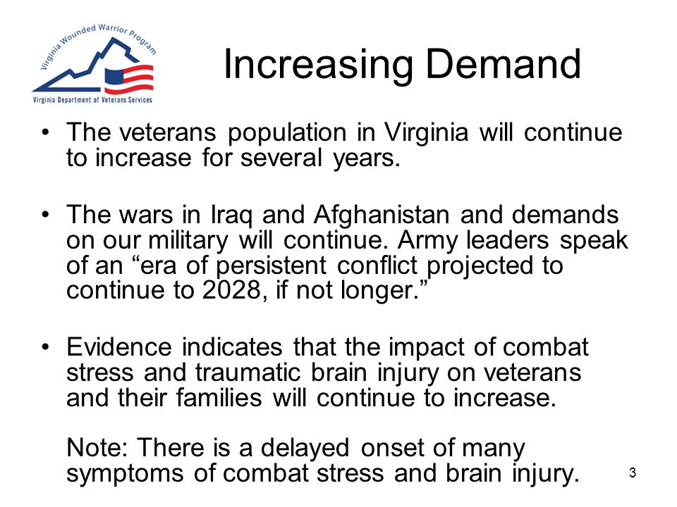 3 Increasing Demand The veterans population in Virginia will continue to increase for several years.
