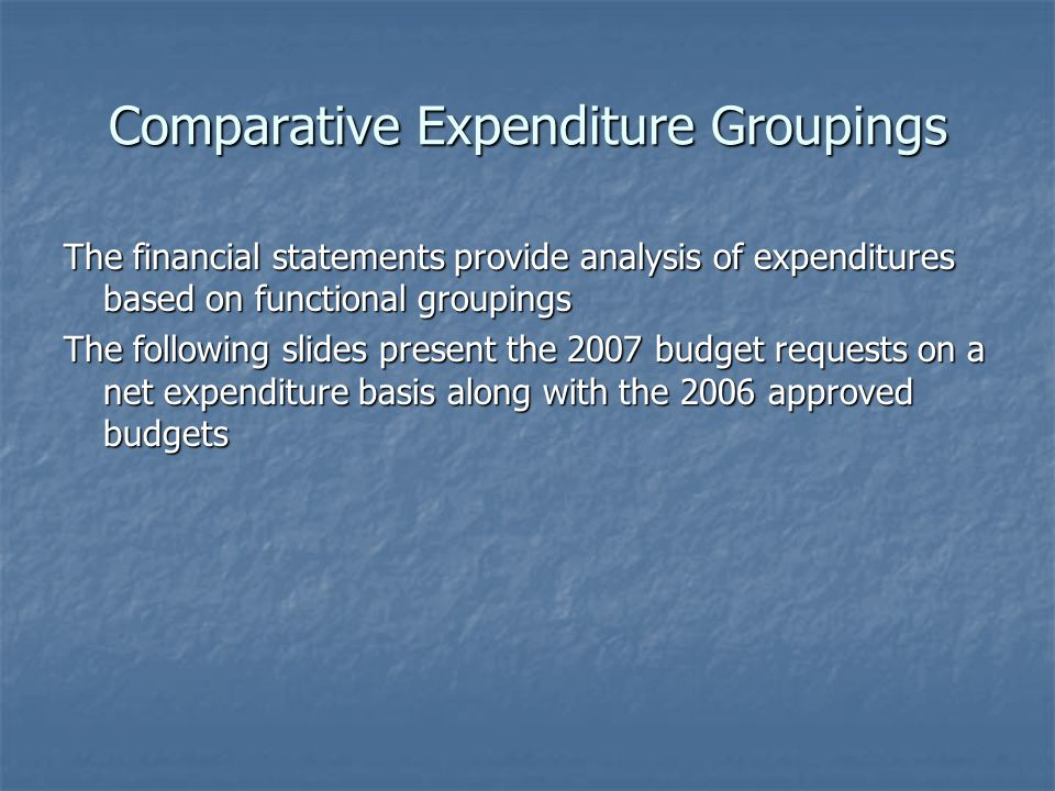 Comparative Expenditure Groupings The financial statements provide analysis of expenditures based on functional groupings The following slides present the 2007 budget requests on a net expenditure basis along with the 2006 approved budgets