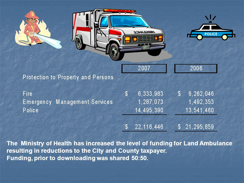 The Ministry of Health has increased the level of funding for Land Ambulance resulting in reductions to the City and County taxpayer.