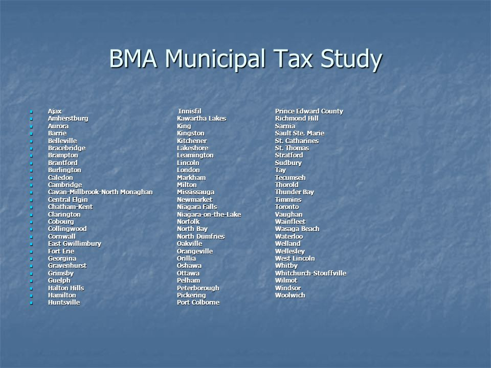BMA Municipal Tax Study Ajax InnisfilPrince Edward County Ajax InnisfilPrince Edward County Amherstburg Kawartha Lakes Richmond Hill Amherstburg Kawartha Lakes Richmond Hill Aurora King Sarnia Aurora King Sarnia Barrie Kingston Sault Ste.