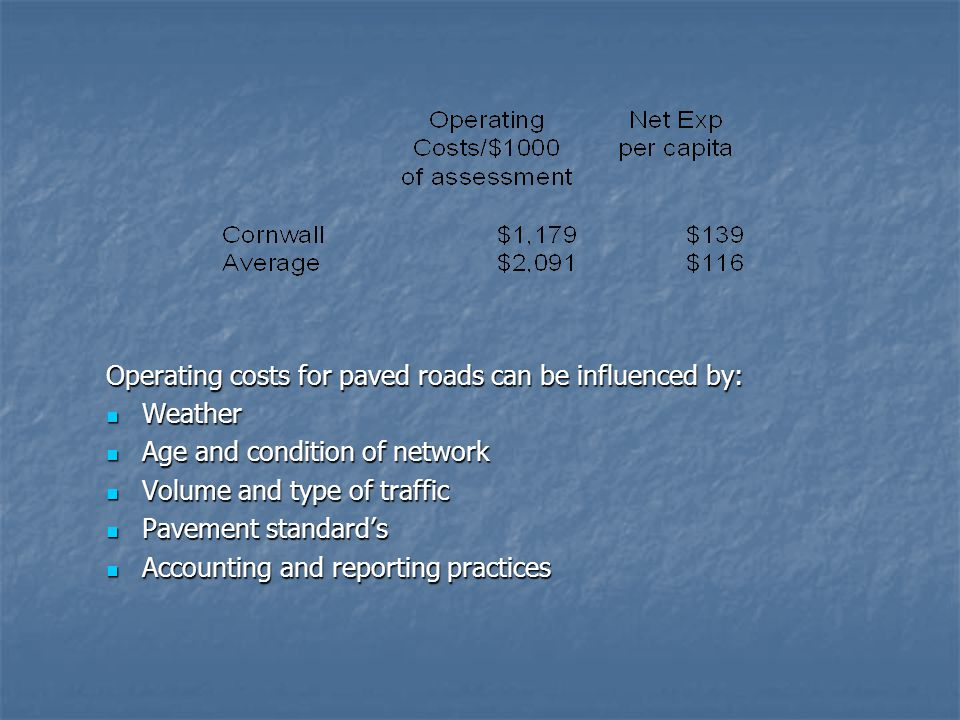 Operating costs for paved roads can be influenced by: Weather Weather Age and condition of network Age and condition of network Volume and type of traffic Volume and type of traffic Pavement standard's Pavement standard's Accounting and reporting practices Accounting and reporting practices