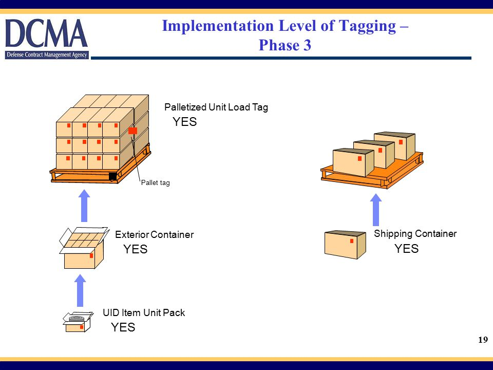 19 Implementation Level of Tagging – Phase 3 Palletized Unit Load Tag YES Exterior Container YES UID Item Unit Pack YES Shipping Container YES Pallet