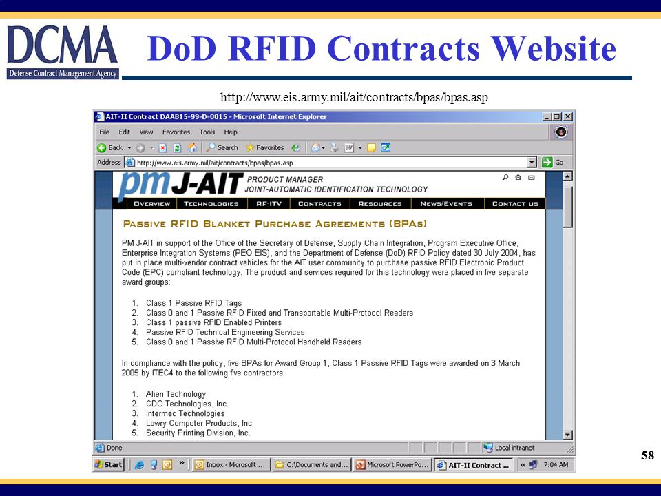 58 DoD RFID Contracts Website http://www.eis.army.mil/ait/contracts/bpas/bpas.asp