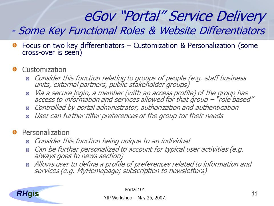 Portal 101 YIP Workshop – May 25, 2007.