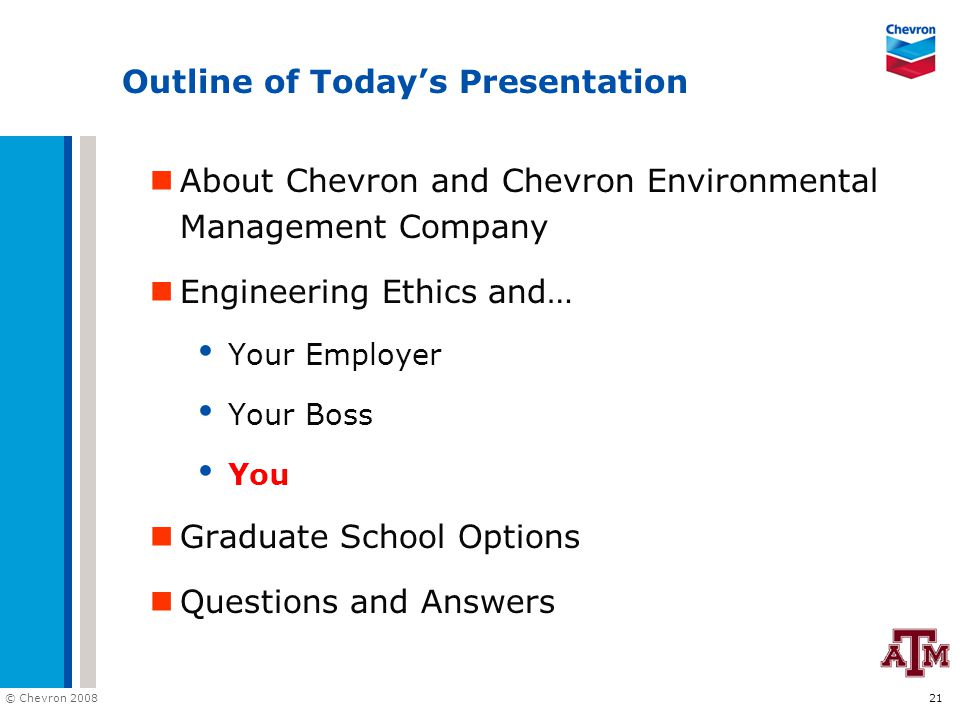 © Chevron 2008 21 Outline of Today's Presentation About Chevron and Chevron Environmental Management Company Engineering Ethics and… Your Employer You