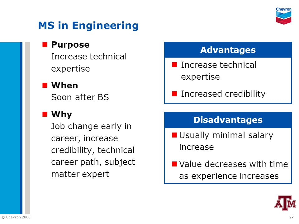 © Chevron 2008 27 MS in Engineering Purpose Increase technical expertise When Soon after BS Why Job change early in career, increase credibility, tech