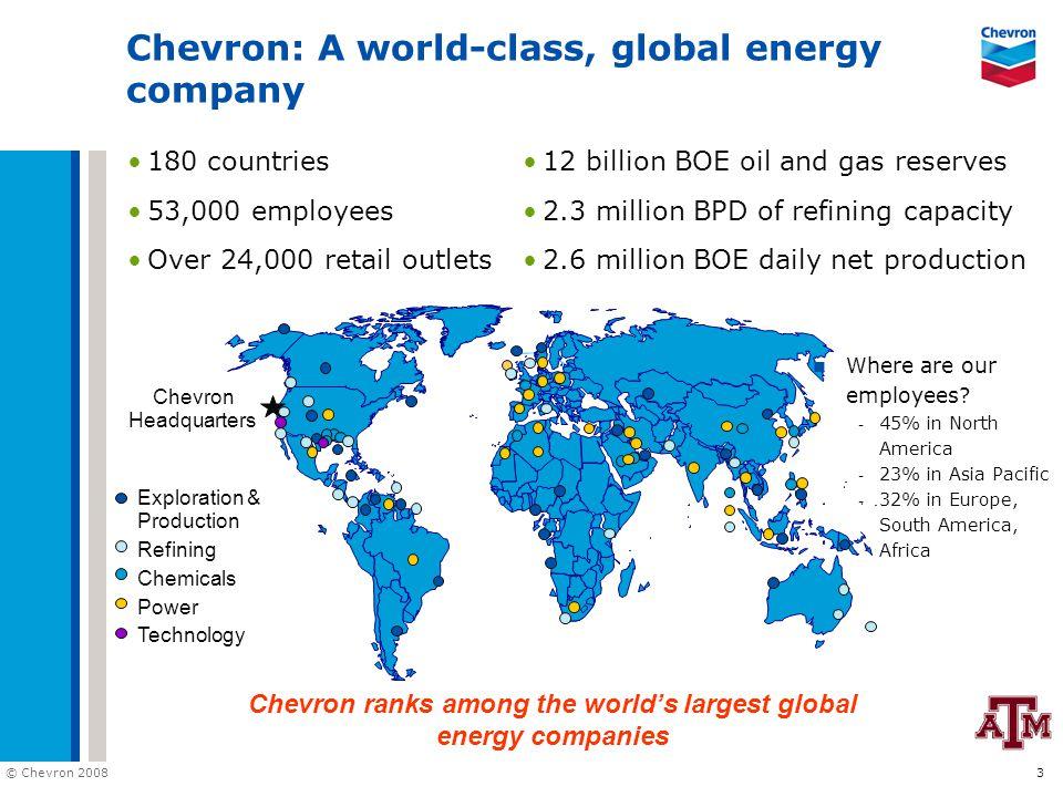 © Chevron 2008 4 Upstream Inside Chevron Downstream Explore Produce Midstream Market Truck Refine Store Ship Pipeline Technology Info Tech Energy Tech