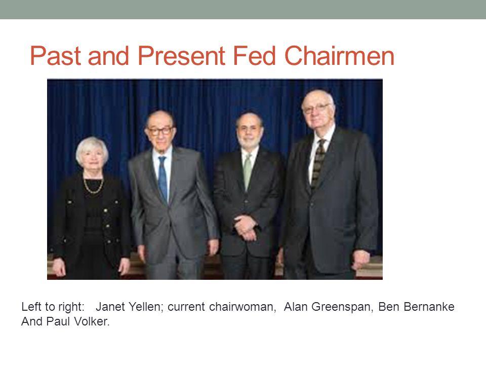 Past and Present Fed Chairmen Left to right: Janet Yellen; current chairwoman, Alan Greenspan, Ben Bernanke And Paul Volker.
