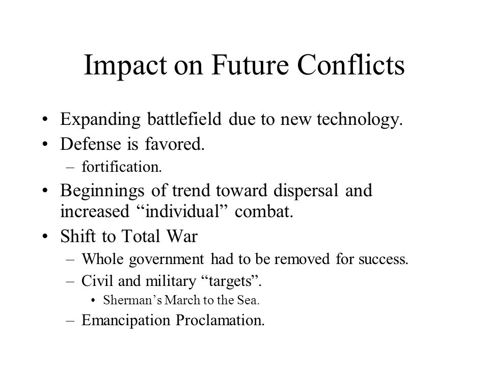 Impact on Future Conflicts Expanding battlefield due to new technology.