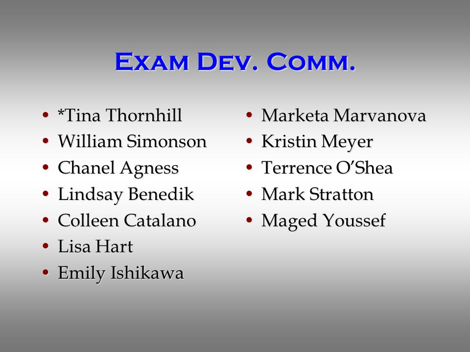 Exam Dev. Comm. *Tina Thornhill*Tina Thornhill William SimonsonWilliam Simonson Chanel AgnessChanel Agness Lindsay BenedikLindsay Benedik Colleen Cata
