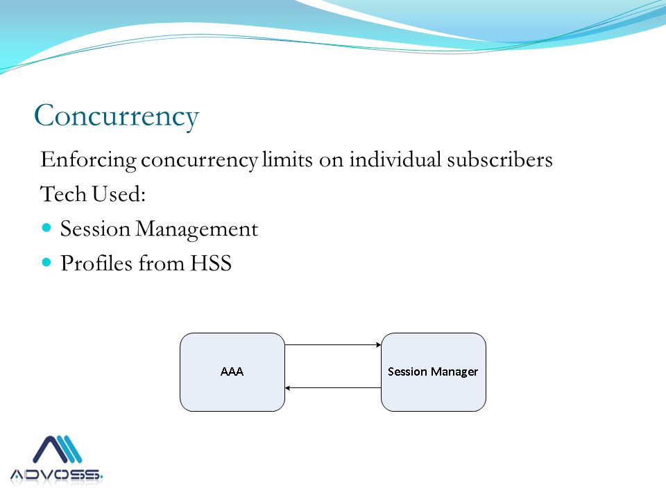 Concurrency Enforcing concurrency limits on individual subscribers Tech Used: Session Management Profiles from HSS