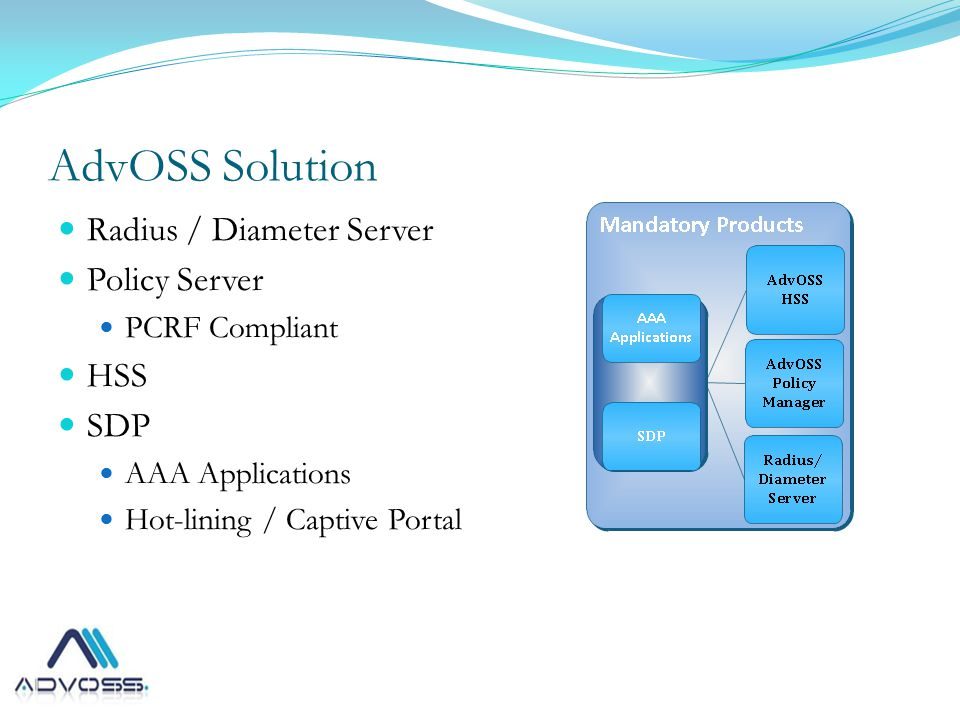 AdvOSS Solution Radius / Diameter Server Policy Server PCRF Compliant HSS SDP AAA Applications Hot-lining / Captive Portal