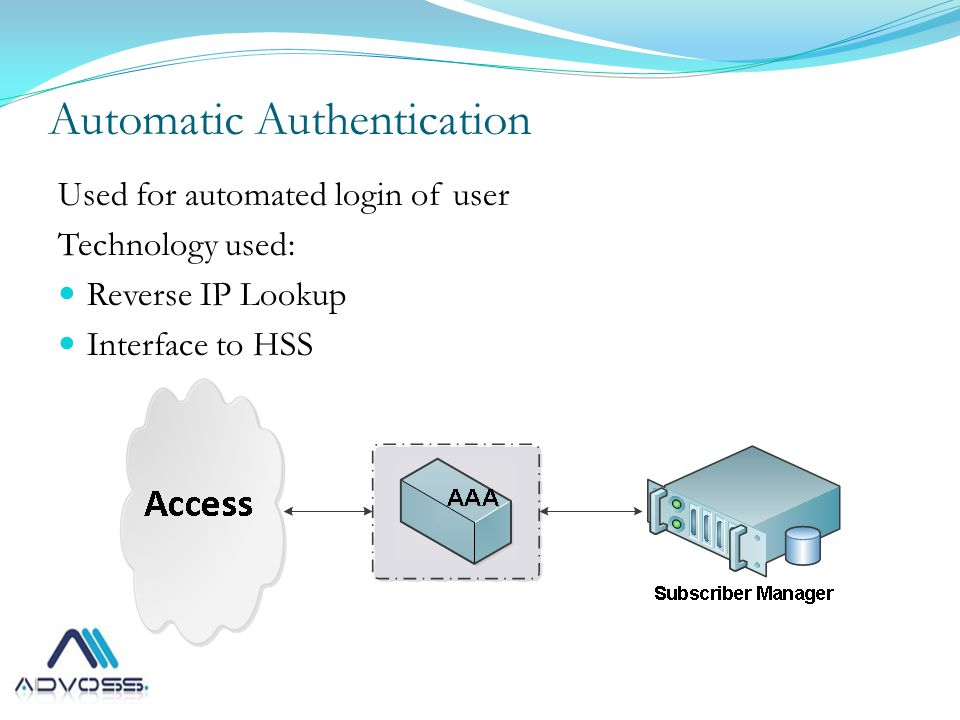 Automatic Authentication Used for automated login of user Technology used: Reverse IP Lookup Interface to HSS