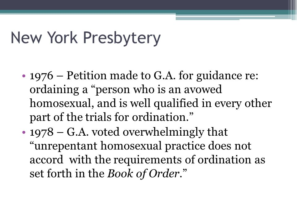 New York Presbytery 1976 – Petition made to G.A.