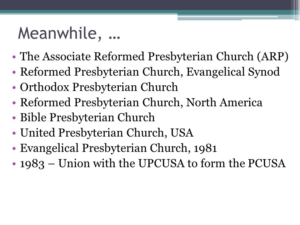 Meanwhile, … The Associate Reformed Presbyterian Church (ARP) Reformed Presbyterian Church, Evangelical Synod Orthodox Presbyterian Church Reformed Presbyterian Church, North America Bible Presbyterian Church United Presbyterian Church, USA Evangelical Presbyterian Church, 1981 1983 – Union with the UPCUSA to form the PCUSA