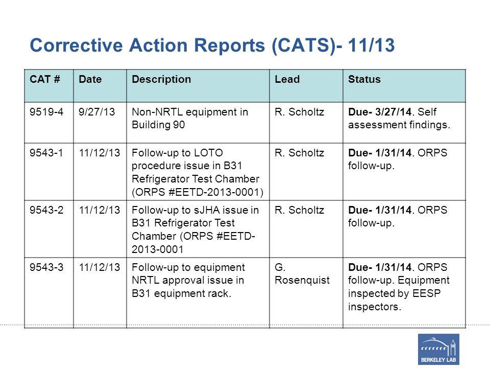 Corrective Action Reports (CATS)- 11/13 CAT #DateDescriptionLeadStatus 9519-49/27/13Non-NRTL equipment in Building 90 R. ScholtzDue- 3/27/14. Self ass