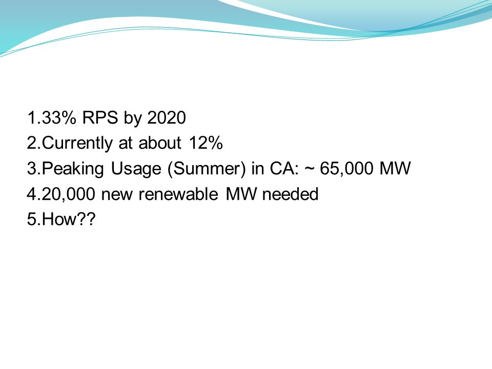 1.33% RPS by 2020 2.Currently at about 12% 3.Peaking Usage (Summer) in CA: ~ 65,000 MW 4.20,000 new renewable MW needed 5.How