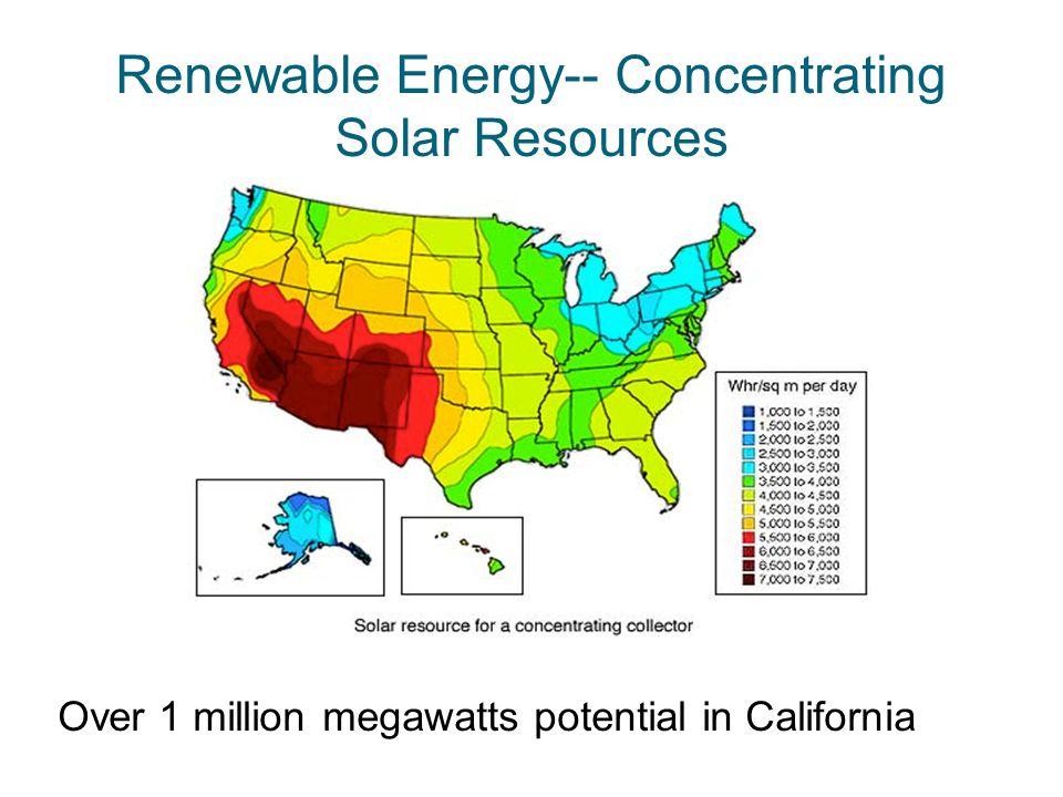 Renewable Energy-- Concentrating Solar Resources Over 1 million megawatts potential in California