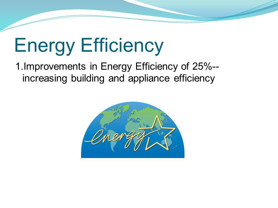 Energy Efficiency 1.Improvements in Energy Efficiency of 25%-- increasing building and appliance efficiency