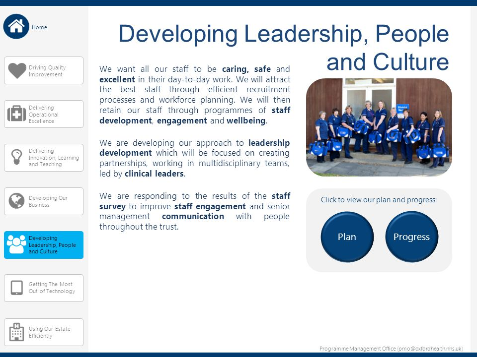 Programme Management Office (pmo@oxfordhealth.nhs.uk) Home Delivering Innovation, Learning and Teaching Developing Our Business Developing Leadership,