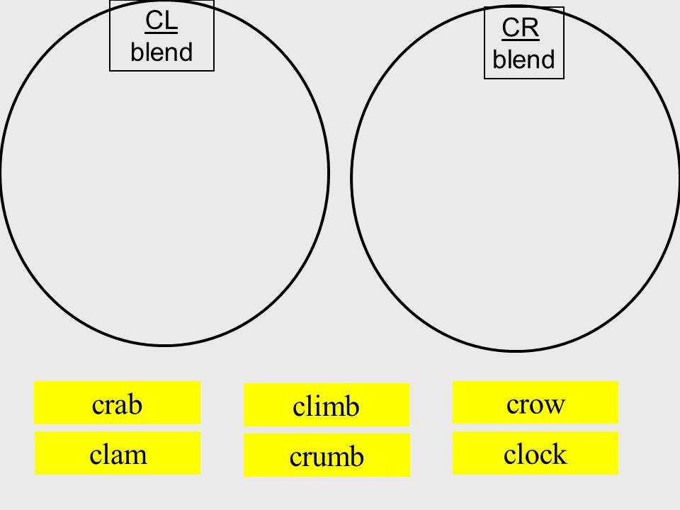 crab crumb crow CL blend CR blend climb clam clock