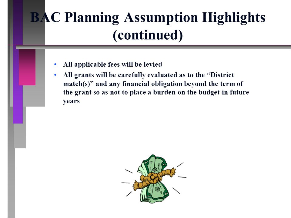 BAC Planning Assumption Highlights (continued) All applicable fees will be levied All grants will be carefully evaluated as to the District match(s) and any financial obligation beyond the term of the grant so as not to place a burden on the budget in future years