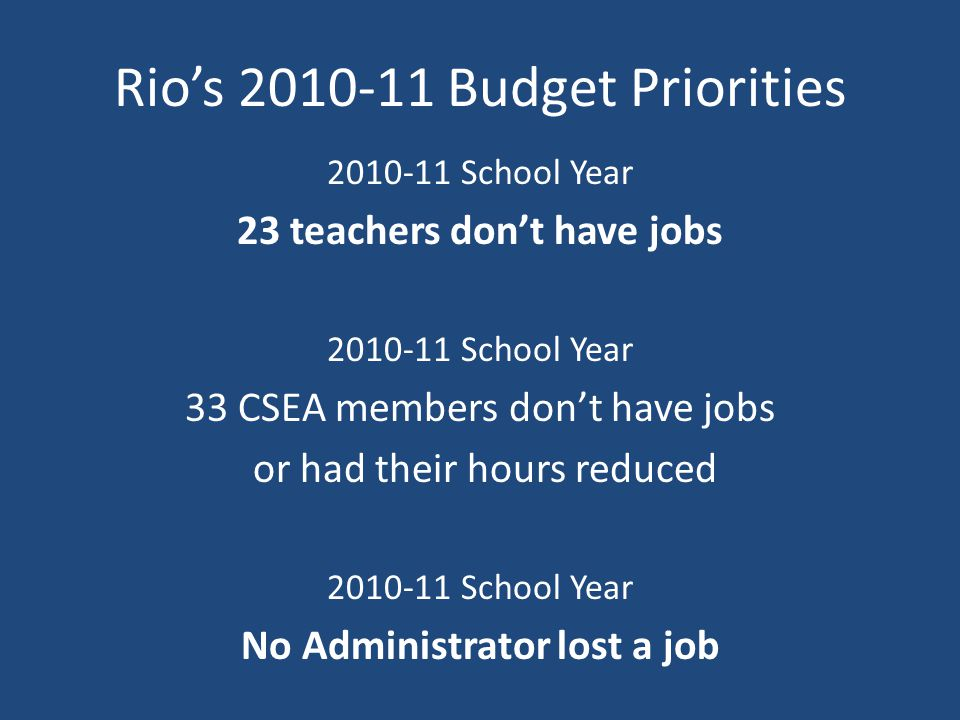 Rio's 2010-11 Budget Priorities 2010-11 School Year 23 teachers don't have jobs 2010-11 School Year 33 CSEA members don't have jobs or had their hours