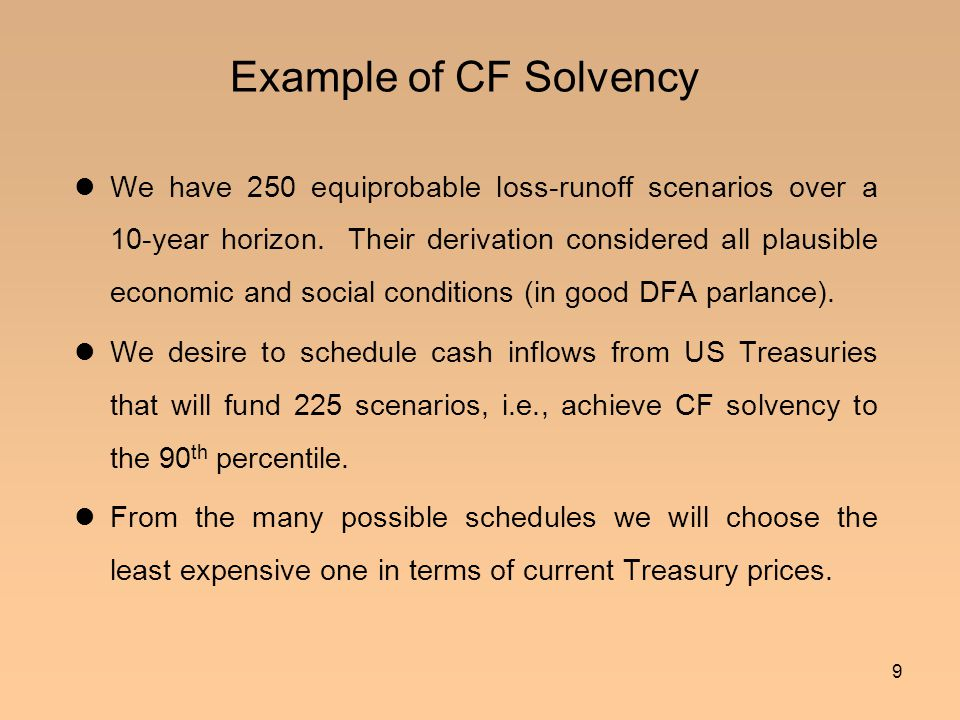 10 Fundamental Theorem of Funding A schedule (or funding arrangement) cannot discharge runoff scenarios, if its present value is less than theirs; i.e., less in-PV cannot fund greater out-PV .